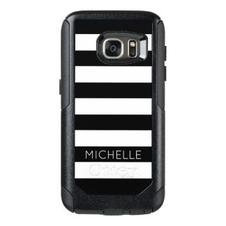 Girly Schwarz-weißes Streifen-Name-Monogramm OtterBox Samsung Galaxy S7 Hülle