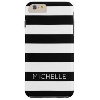 Girly Schwarz-weißes Streifen-Name-Monogramm Tough iPhone 6 Plus Hülle