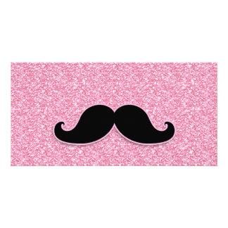GIRLY SCHWARZER SCHNURRBART-ROSA-GLITTER GEDRUCKT FOTOGRUßKARTEN