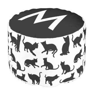 Girly schwarzer u. weißer Katzen-Monogramm-Puff Hocker