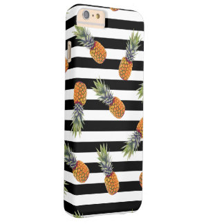 Girly Schwarzes des Sommer-Ananas-Muster-| Striped Barely There iPhone 6 Plus Hülle
