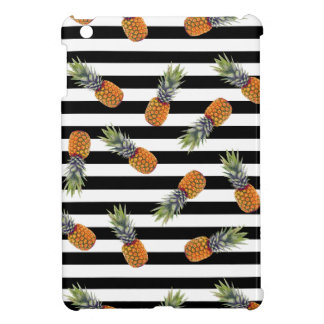 Girly Schwarzes des Sommer-Ananas-Muster-| Striped iPad Mini Hülle