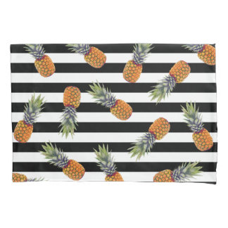 Girly Schwarzes des Sommer-Ananas-Muster-| Striped Kissenbezug