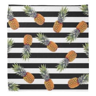 Girly Schwarzes des Sommer-Ananas-Muster-| Striped Kopftuch
