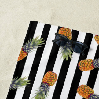 Girly Schwarzes des Sommer-Ananas-Muster-| Striped Strandtuch