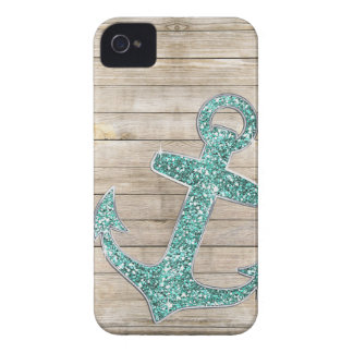 Girly Seeaqua-lila Anker-u. Holz-Blick iPhone 4 Case-Mate Hülle