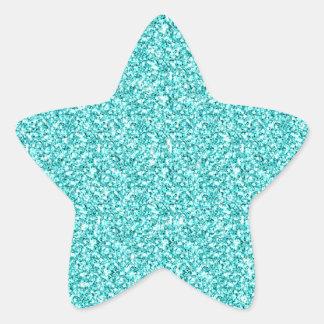 Girly, Spaß-Aqua-blauer Glitter gedruckt Stern Aufkleber