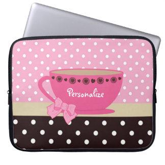 Girly Teacup-Rosa und Brown-Tupfen-Bogen und Name Laptop Sleeve Schutzhülle