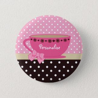 Girly Teacup-Rosa und Brown-Tupfen-Bogen und Name Runder Button 5,7 Cm