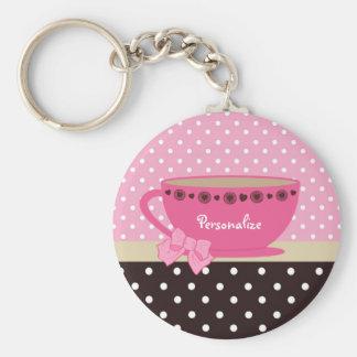 Girly Teacup-Rosa und Brown-Tupfen-Bogen und Name Schlüsselanhänger