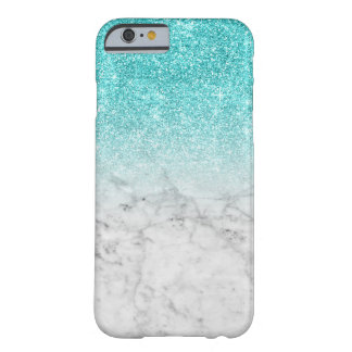 Girly Trendy Imitat-Aqua-Glitter-Marmor Barely There iPhone 6 Hülle