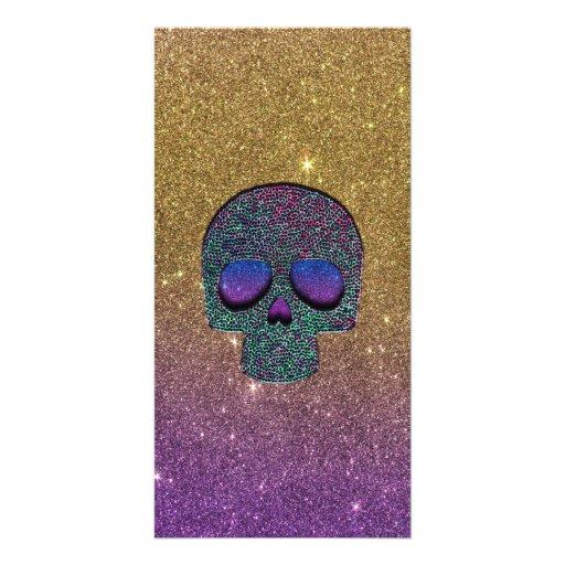 Girly Trendy Imitat-Glitter-Schädel Bilderkarten