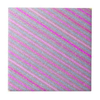 Girly Trendy Rosa-Streifen-Glitter-Foto-Druck Fliese