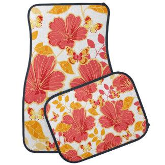 Girly tropischer Hibiskus und Schmetterlinge Auto Fussmatte