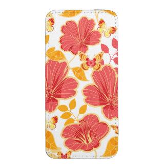 Girly tropischer Hibiskus und Schmetterlinge Handytasche
