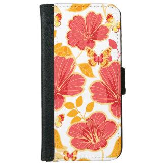 Girly tropischer Hibiskus und Schmetterlinge iPhone 6 Geldbeutel Hülle