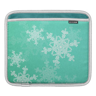 Girly Türkis weißes Weihnachtsschneeflocken iPad Sleeve