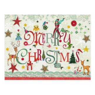 Girly Typografie der frohen Weihnachten - Postkarte
