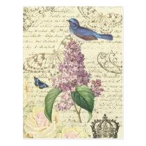 Girly Vintage Postkarte mit Vogel und Flieder