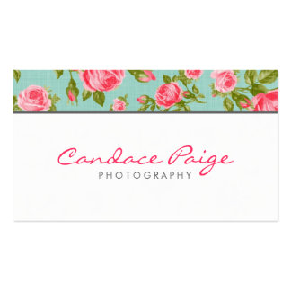Girly Vintage Rosen-Blumendruck Visitenkarten Vorlage