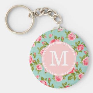 Girly Vintage Rosen-Blumenmonogramm Schlüsselanhänger