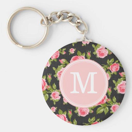 Girly Vintage Rosen-Blumenmonogramm Schlüsselband