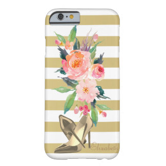 Girly Watercolor-Blumen, Heels, Striped Barely There iPhone 6 Hülle