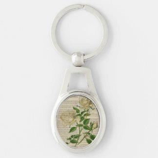 girly weiße Rose der romantischen botanischen Silberfarbener Oval Schlüsselanhänger