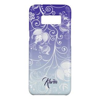 Girly weißer Blumenentwurf lila u. weißes Ombre 23 Case-Mate Samsung Galaxy S8 Hülle