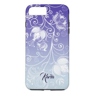 Girly weißer Blumenentwurf lila u. weißes Ombre 2 iPhone 8 Plus/7 Plus Hülle