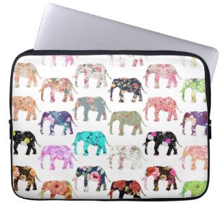 Girly wunderliches Retro Blumenelefant-Muster Computer Sleeve Schutzhülle