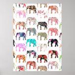 Girly wunderliches Retro Blumenelefant-Muster Poster
