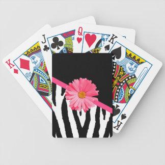 Girly Zebra-Muster-niedliches rosa Gänseblümchen Bicycle Spielkarten