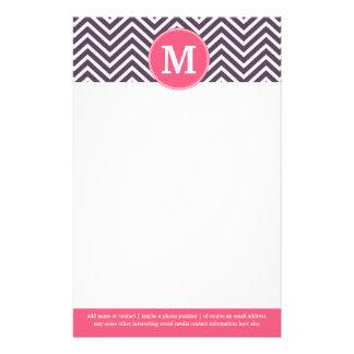 Girly Zickzack Muster mit Monogramm - rosa Lila Personalisierte Büropapiere