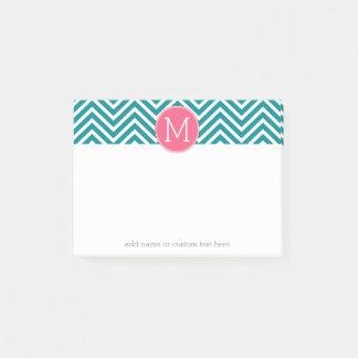 Girly Zickzack Muster mit Monogramm - rosa Post-it Klebezettel