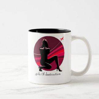 girlz 0f Zerstörungs-Tassenschwarzes/-MAGENTA Zweifarbige Tasse