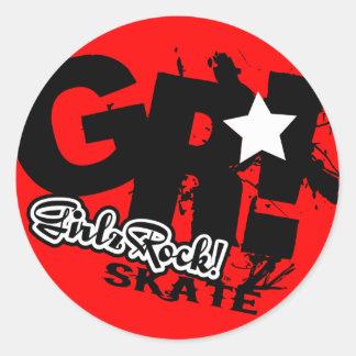 GirlzRock! Gehen Skate große Runder Aufkleber