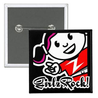 GirlzRock! Knopf Quadratischer Button 5,1 Cm