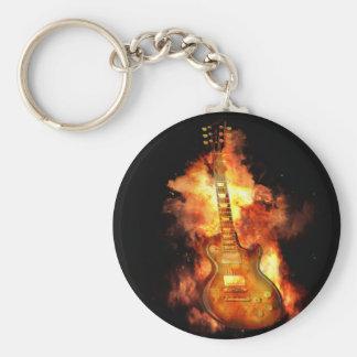 Gitarre auf Feuer Schlüsselanhänger