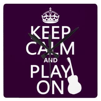 Gitarre - behalten Sie Ruhe und Spiel auf (jede Quadratische Wanduhr