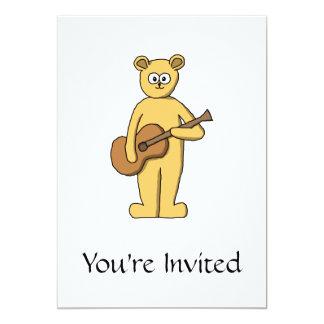 Gitarre, die Bären spielt 12,7 X 17,8 Cm Einladungskarte