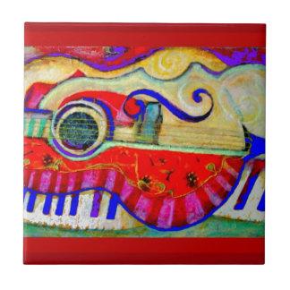 Gitarre extrahierte Kunst durch Sharles Kleine Quadratische Fliese