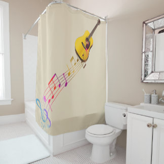 Gitarre mit Musiknoten Duschvorhang