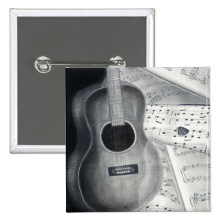 Gitarre u. Notenen-Knopf Quadratischer Button 5,1 Cm