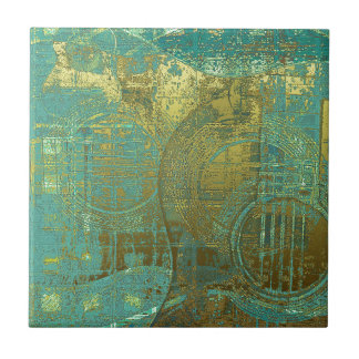 Gitarren-abstraktes blaues grünes Gold Brown Kleine Quadratische Fliese