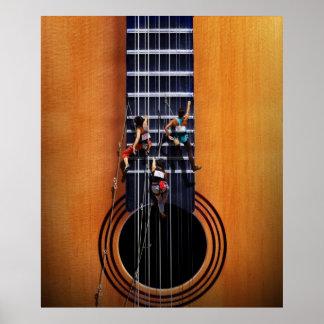 Gitarren-Bergsteiger-Plakat Poster