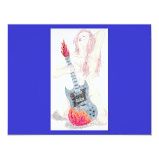 Gitarren-Frauen-Einladung 10,8 X 14 Cm Einladungskarte