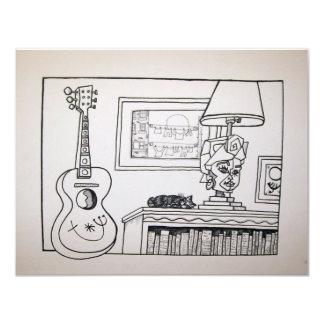 Gitarren-Katze und Lampe durch Piliero 10,8 X 14 Cm Einladungskarte