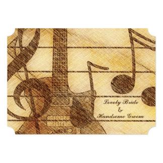 Gitarren-Musik-Creme-Brown-Hochzeit 12,7 X 17,8 Cm Einladungskarte
