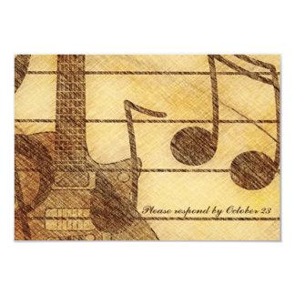 Gitarren-Musik-Creme-Brown-UAWG 8,9 X 12,7 Cm Einladungskarte